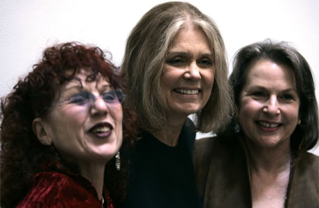 Judy Chicago, Gloria Steinem and Elizabeth A. Sackler (left to right) at the preview of the Brooklyn Museum's Elizabeth A Sackler Center for Feminist Art. Photograph: Mary Altaffer/AP