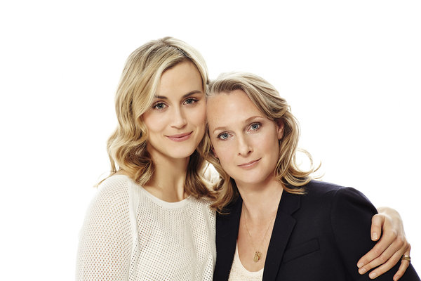 """Piper Kerman (r) with actress Taylor Schilling who plays her character in """"Orange is the New Black"""""""