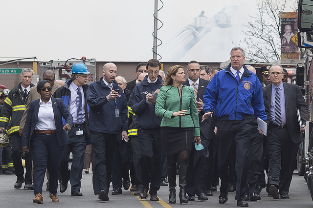 NYC Mayor Bill de Blasio said  a gas leak caused the large explosion Wednesday morning at 1644 and 1646 Park Avenue in Harlem. Photo: NYC Mayor's Office