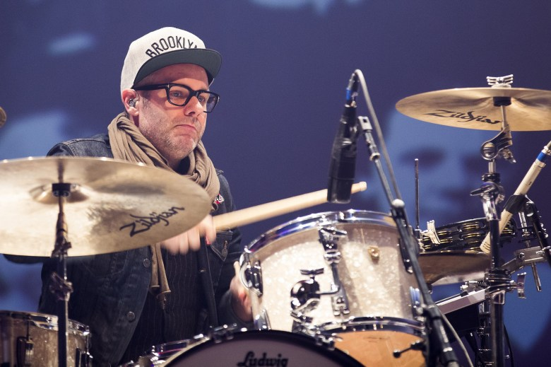 Avett Brothers drummer Mike Marsh wears his new Brooklyn Nets hat on stage during the band's show at Barclays Center on Friday, March 7. Photo: Angela Cranford/Barclays Center