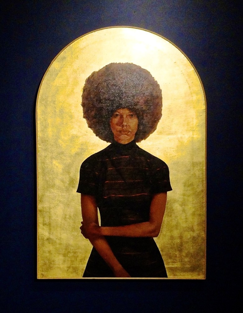 """""""Witness: Art and Civil Rights in the Sixties,"""" at the Brooklyn Museum Barkley L. Hendricks, Lawdy Mama, (1969). Oil and gold leaf on canvas. The Studio Museum in Harlem, gift of Stuart Liebman, in memory of Joseph B. Liebman."""