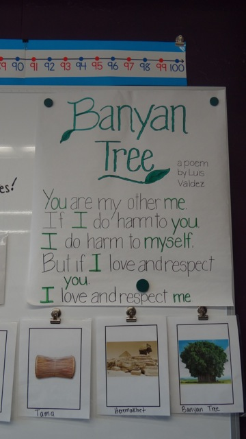 The Banyan Tree, which symbolizes community and interpersonal relationships, is one of six value symbols emphasized on top of the curriculum at Professional Prep Charter School
