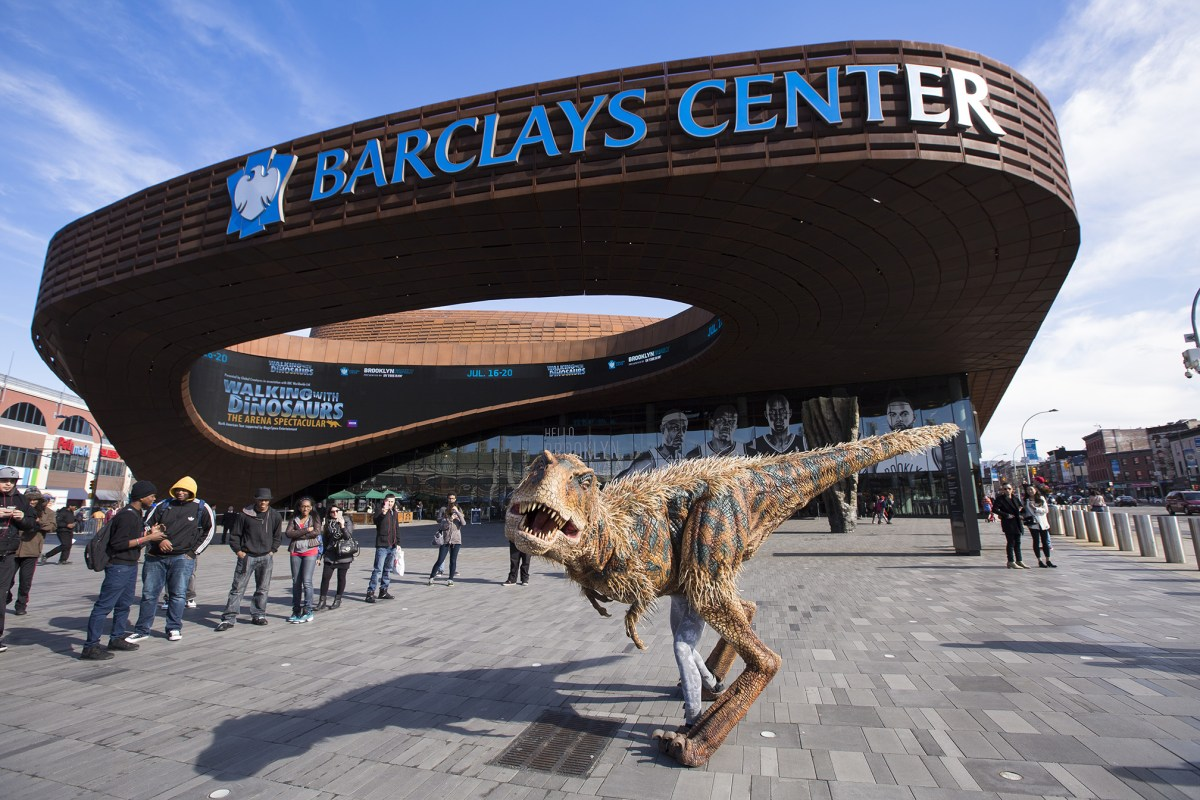 A dinosaur from Walking With Dinosaurs visits Barclays Center to promote their upcoming Summer 2014 show.Photo: Angela Cranford/Barclays Center