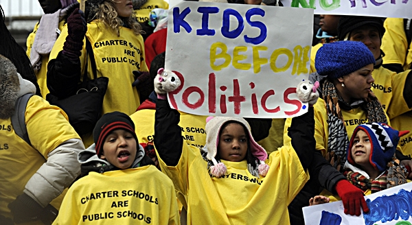 A group of charter school students rally in support of charter schools outside the Capitol in Albany, N.Y., on Tuesday, March 4, 2014. New York Gov. Andrew Cuomo pledged his support to the massive pro-charter school rally Tuesday.  AP Photo: Tim Roske