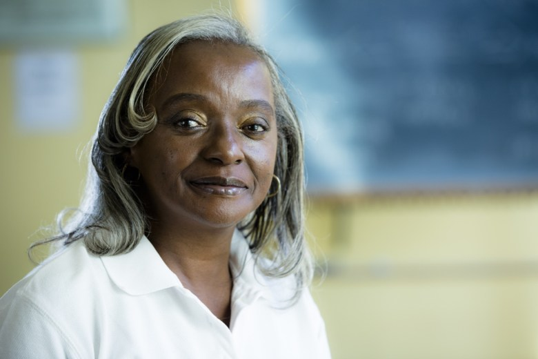 Belinda White, a START patient, in her uniform as a home health aid.