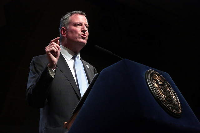 Mayor Bill de Blasio delivers his 100 Day Speech at Cooper Union on Thursday, April 10