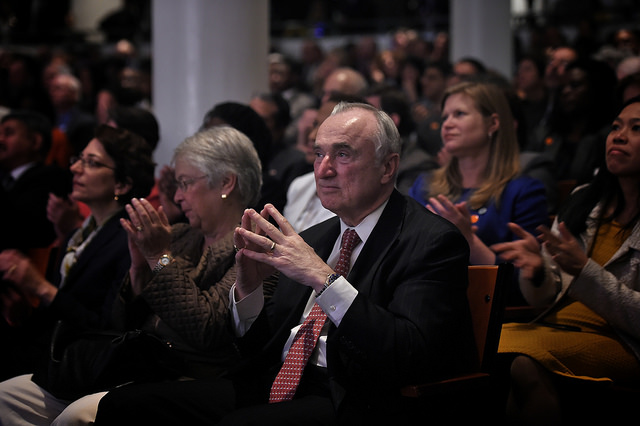 Police Commissioner Bill Bratton in the audience as Mayor Bill de Blasio delivers his 100 Day Speech at Cooper Union on Thursday, April 10