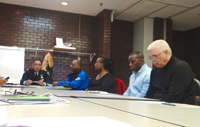 (l) Captain Julio E. Delgado of Police Service Area 3 speaks at a meeting of community stakeholders surrounding ways to curb gun violence, 4/17/14