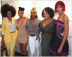 Solange Knowles, Cassie, Mary J. Blige, Lisa Price and Selita Ebanks at the Carol's Daughter Spokesbeauty & Monoi Repairing Collection launch at Sephora in 2011