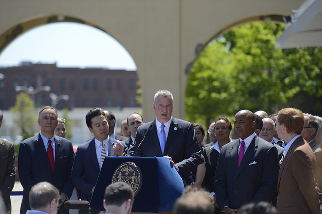 Mayor Bill de Blasio announces 'Jobs for New Yorkers' at the Brooklyn Army Terminal Courtyard on Tuesday, May 20, 2014 Photo: Rob Bennett for the Office of Mayor Bill de Blasio