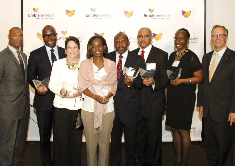 (Left to Right) David Flemister, Director of Community Marketing, EmblemHealth; Charles A. Archer, Esq, Chief Executive Officer, Evelyn Douglin Center for Serving People in Need; Joanne Oplustil, President and Chief Executive Officer, CAMBA; Nadine Juste-Beckles, Board Member, Dispora Community Services; Harvey Lawrence, President and Chief Executive Officer, Brownsville Multi-Service Family Health Center; Dr. Andre K. Peck, Executive Director, Haitian-American Community Coalition; Tracey Capers, Executive Vice President for Programs, Bedford Stuyvesant Restoration Corporation; Dave Mahder, Vice President of Marketing and Communications, EmblemHealth