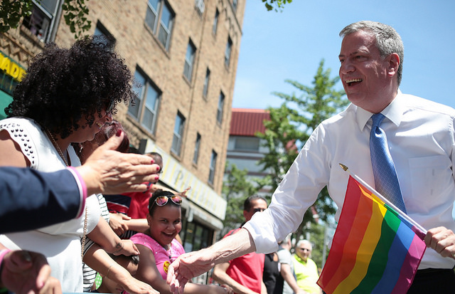 Mayor Bill de Blasio marches in the Queens Pride Parade on Sunday, June 1, 2014. Credit: Ed Reed for the Office of Mayor Bill de Blasio