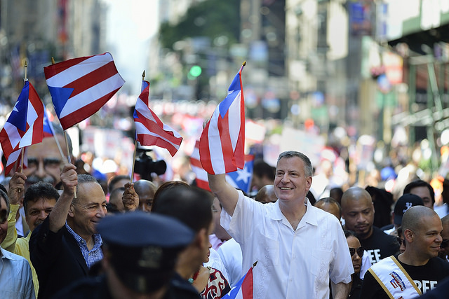 Mayor Bill de Blasio at the Puerto Rican Day Parade on Fifth Avenue on Sunday, June 8, 2014. Credit: Diana Robinson for the Office of Mayor Bill de Blasio