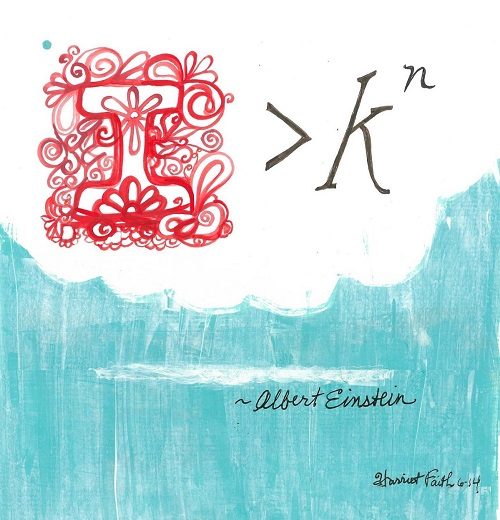 Art, Hand-Lettering, Illustration, Harriet Faith, Painting, Year Long Hand Lettering Project, Success, Motivation, Daily Practice, Inspiration, Quotes, Dreams, Pay Attention To Your Dreams, Albert Einstein, Imagination, Knowledge, Theory of Relativity, Light Waves, Science, Math