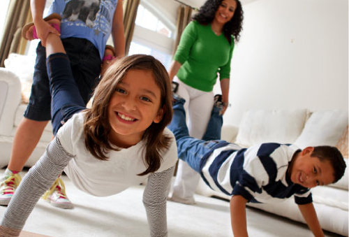 fun exercise with partner family