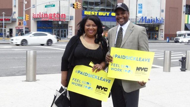 Representatives from the Bed-Stuy Gateway BID campaign outside the subway station at Barclays Center to inform residents about the Paid Sick Leave Law