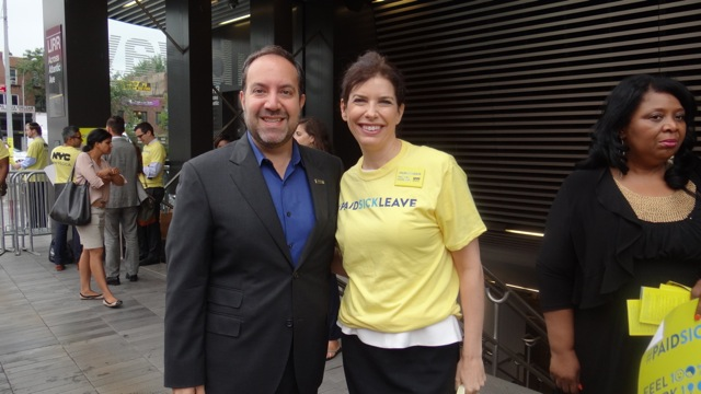 (l to r) Carlo Scissura, president of Brooklyn Chamber of Commerce and Consumer Affairs Commissioner Julie Menin campaign outside the subway station at Barclays Center to inform residents about the Paid Sick Leave Law
