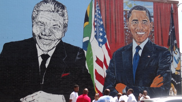 Mural painting at Boys and Girls High School, part of Nelson Mandela International Day of Service