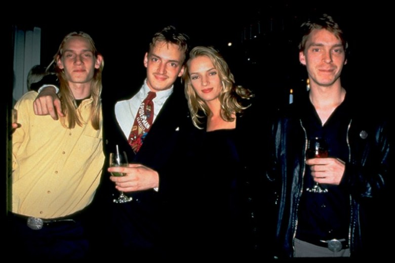 Actress Uma Thurman (second from right) and her brother Mipam Thurman (far left) in their younger days
