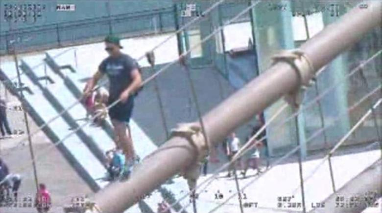 Surveillance Video Footage shows a tourist who was arrested by NYPD on Sunday for scaling the Brooklyn Bridge. Photo: DCPI