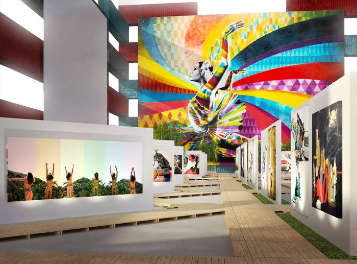 A rendering of the inside of The Wanderlust Museum-- a 45,000 square foot structure that will be easily and organically assembled in ports of call around the world as a transitory display for art.