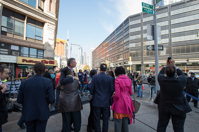 Mayor Bill de Blasio Delivers Remarks at Street Co-Naming Ceremony for Jon Kest Way. Nevins and Flatbush Avenues, Brooklyn.  Photo: Ed Reed