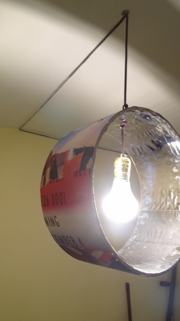 """A lamp, designed by students from recycled material for """"Century 21: Bed-Stuy Rhapsody in Design: A Reconstruction Urban Remix in the Aesthetic of Funk."""""""