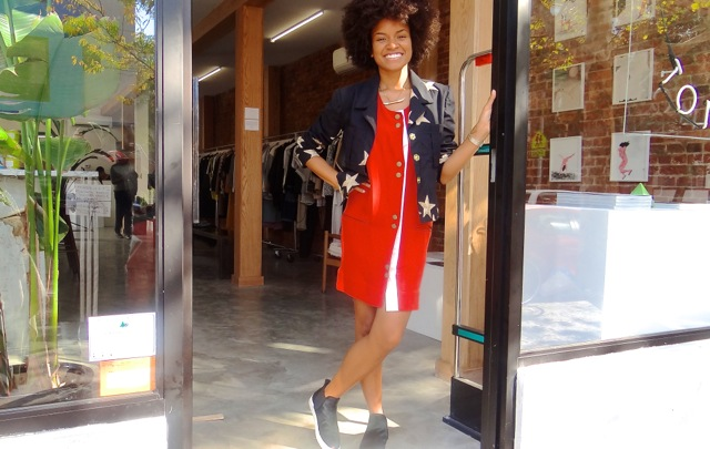 Kai Avent-Deleon, co-owner of Sincerely, Tommy clothing boutique, located at 343 Tompkins Avenue