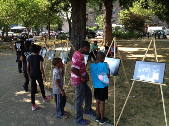 """""""Behind These Prison Walls,"""" outdoor installation, Fulton Park, Bed-Stuy Photo: Lorenzo Steele"""