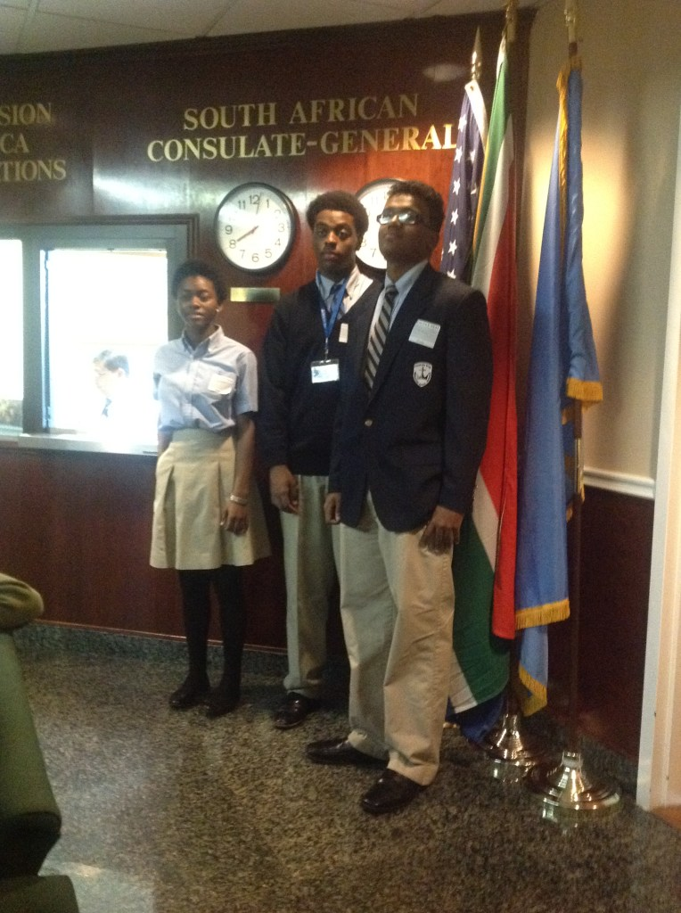 Newark debate students get an eye full at the south African consulate. These students are from Christ The King