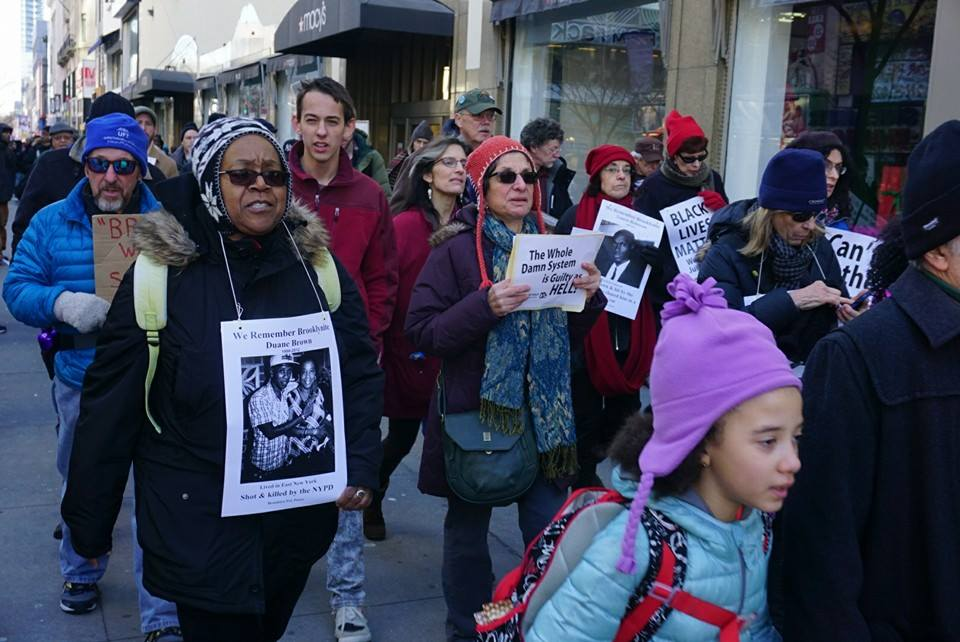 Brooklyn residents from Fort Greene Peace and Brooklyn for Peace on the feeder march through Brooklyn. (photo Matthew Weinstein)