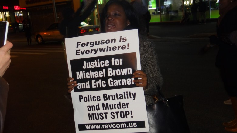 Protesters on Flatbush Avenue and Fulton Street in downtown Brooklyn