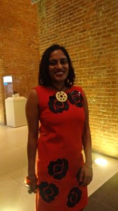 """Artist Chitra Ganesh, at the opening of """"Eyes of Time,"""" at the Brooklyn Museum"""