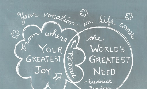 Art, Hand-Lettering, Illustration, Harriet Faith, Painting, Success, Motivation, Daily Practice, Inspiration, Quotes, Dreams, Pay Attention To Your Dreams, Frederick Buechner, Vocation, Gladness, Joy