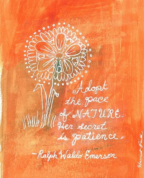 rt, Hand-Lettering, Illustration, Harriet Faith, Painting, Success, Motivation, Daily Practice, Inspiration, Quotes, Dreams, Pay Attention To Your Dreams, Ralph Waldo Emerson, Patience, Nature, Secret, Perfection