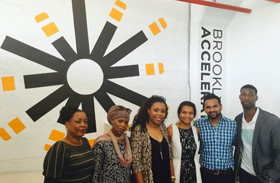(l to r): Patricia Francois, Christine Lewis and Samantha Lee of Domestic Workers United, Vasudha Gupta and Anurag Gupta of Be More, and Marlon Peterson of The Precedential Group. Photo: Brooklyn Community Foundation
