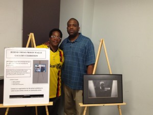 Lorenzo Steele (r) with a former inmate Anthony Simpson conducting a prison art exhibition at New Rochelle college in 2014. Photo: Lorenzo Steele Jr.