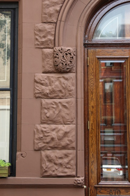 Beautifully mainained detail around the front door of a Park Slope brownstone. Photographer, Sotero Bernal