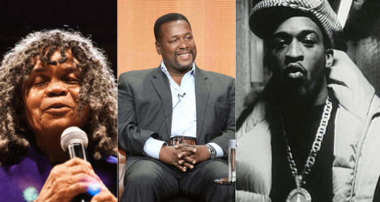 (l to r): Poet and Author Sonia Sanchez; Actor and Activist Wendell Pierce; Hip Hop Artist and Pioneer Rakim