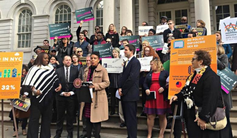Council Member Laurie A. Cumbo (in brown) joined by (from l-r) Council Members Vanessa Gibson, Corey Johnson, Daniel Dromm, and Ben Kallos as well as reproductive health advocates call for comprehensive sex education for K-12 students in New York City public schools.