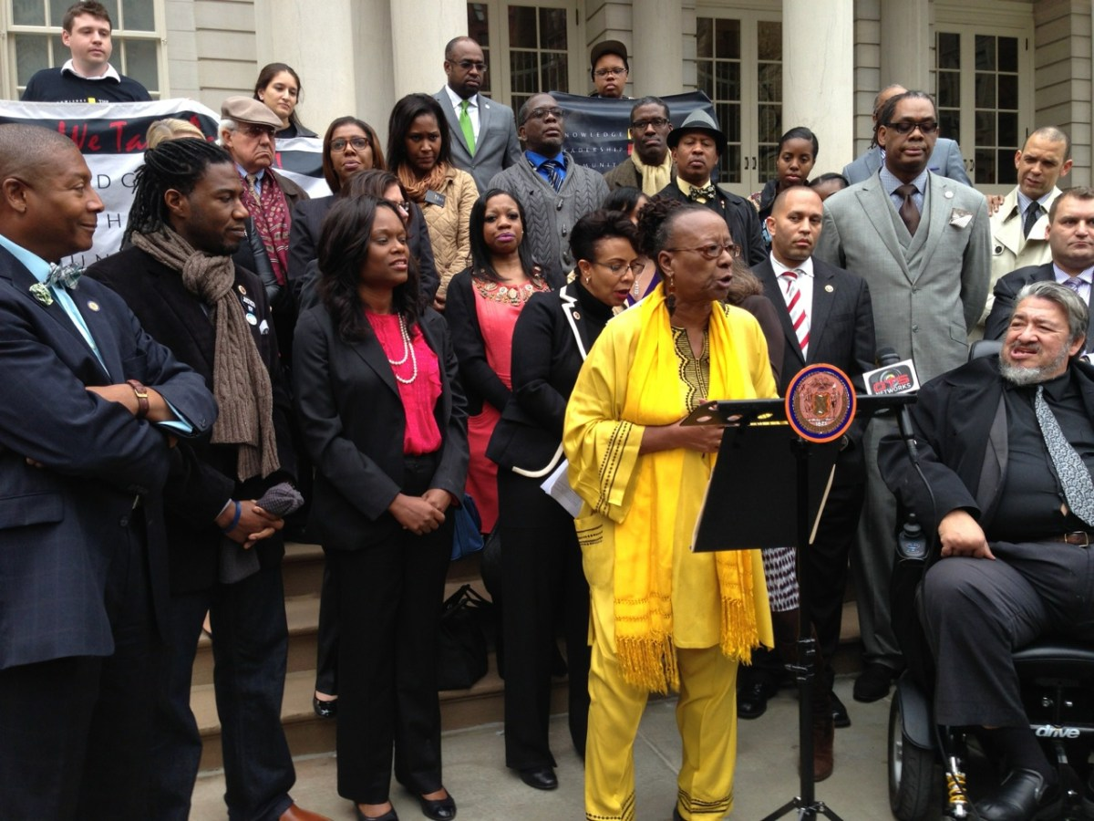 Bertha Lewis, founder and president of The Black Institute, speaks at a press conference calling on the city to offer more support of M/WBE contractors