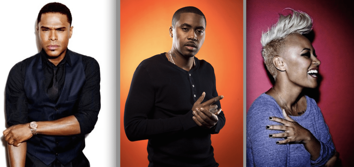 Artists Maxwell, Nas and Emeli Sande will perform a Valentine's Day concert at Barclays Center
