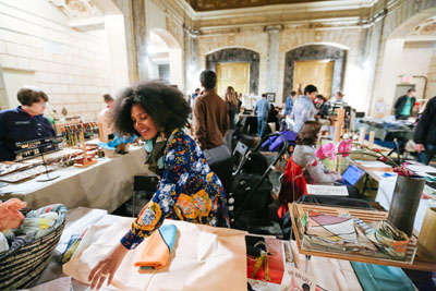 May 1, 2016 - Brooklyn, NY: F.A.D., a fashion, art, and design market at 22 Boerum Pl in Brooklyn. The pop up market has a rotating group of vendors selling wares every weekend.