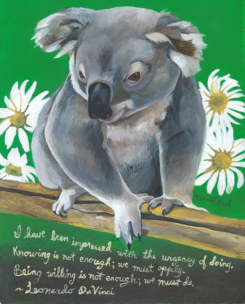 Harriet Faith, Art, Illustration, Pay Attention To Your Dreams, Quotes, Inspiration, Motivation, Dreams, Hand Lettering, Drawing, Painting, Leonardo DaVinci, Koala Bear, Take Action, Urgency Of Doing