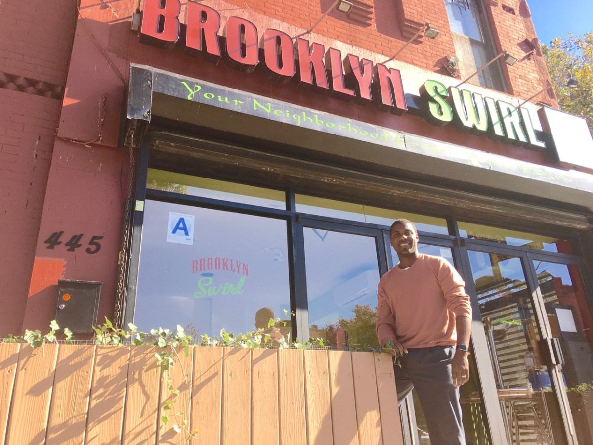 Jean Alerte, owner of Brooklyn Swirl, will be closing his frozen yogurt parlor for the winter months