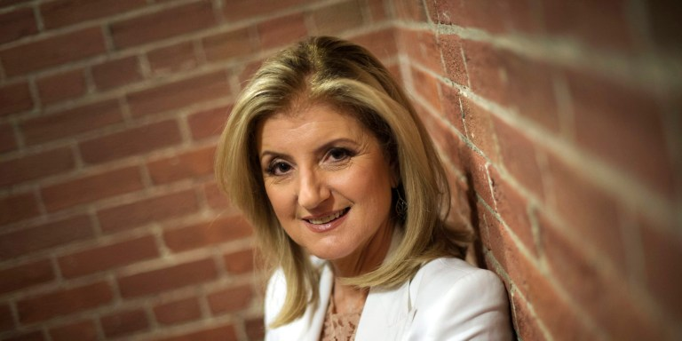 """Arianna Huffington, co-founder and editor-in-chief of The Huffington Post Media Group, poses while promoting her new book """"Thrive: The Third Metric to Redefining Success and Creating a Life of Well-Being, Wisdom, and Wonder"""" in Toronto on Monday, April 21, 2014. (AP Photo/The Canadian Press, Darren Calabrese)"""