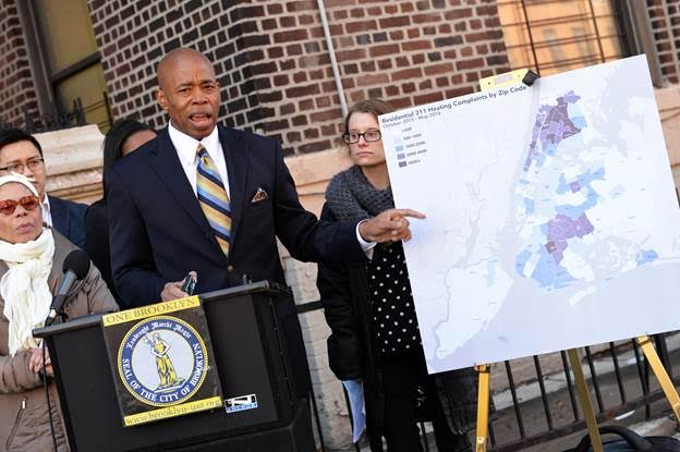 BP Eric Adams points out on a map problem neighborhoods for residential heating complaints citywide Photo: Erica Sherman/Brooklyn BP's Office
