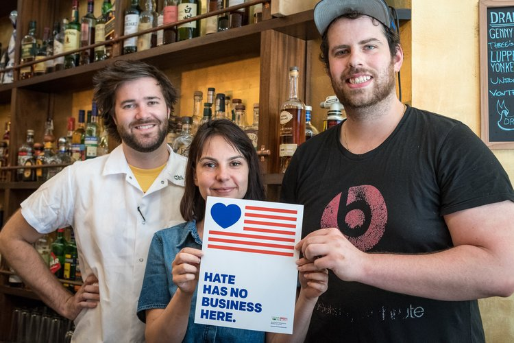NYC BID,Hate Has No Business Here, small businesses, small business community, Clinton Hill, Three Furies, Starting Now design, BK Reader, Myrtle Avenue Brooklyn Partnership ,MARP, anti-racism, anti-homophobia, anti-gay, anti-sexism, aniti-misogeny, anti-xenophobia,