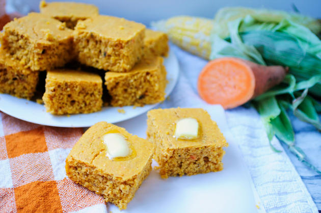 healthy holiday recipes, BK Reader, cornbread, sweet potato, sweet potato cornbread, vegan holiday recipes, plant-based cooking, heal thing cooking, healthy holidays, almond milk, non-dairy milk,