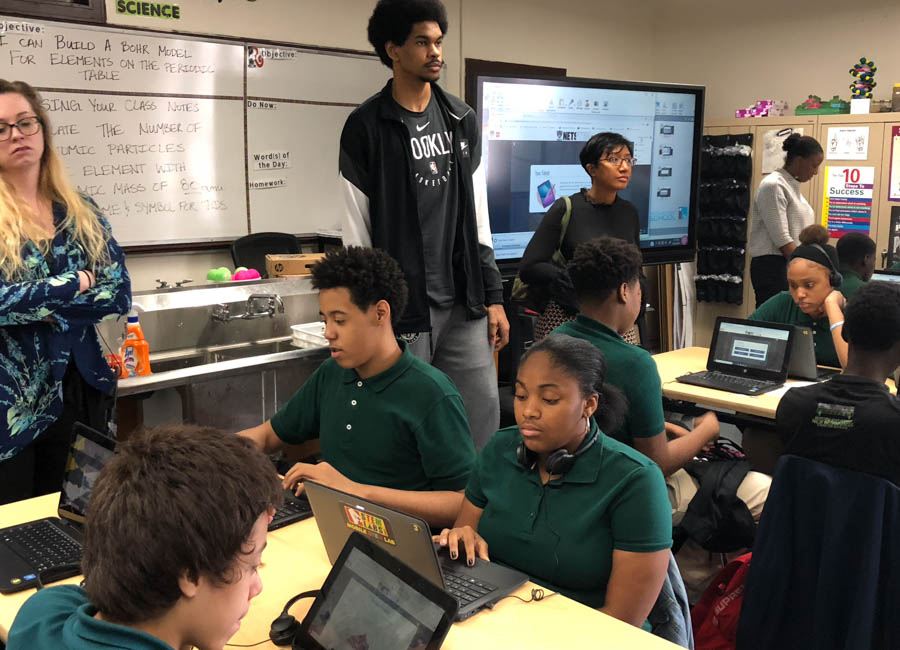 The NETSTEM initiative uses gamified lessons and basketball to prepare students for careers in STEM